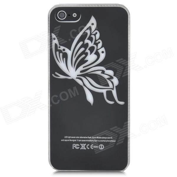 Butterfly Pattern Protective Plastic Case w/ Flashing LED for Iphone 5 (1 x CR2016) butterfly bling diamond case