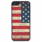 Vintage US National Flag Style Protective Plastic Back Case for Iphone 5 - Black + Red