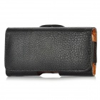 Lychee Pattern Protective PU Leather Case w/ Belt Clip for Iphone 5 - Black