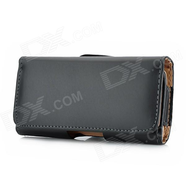 Protective PU Leather Flip-Open Case w/ Clip for Iphone 5 - Black