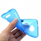 Protective TPU Back Cover Case for HTC Droid DNA x920E - Transparent Blue