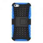 Square Grid Style Protective Silicone + PVC Back Case w/ Stand for Iphone 5 - Black + Blue