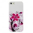 TEMEI Rose Pattern Protective PC Back Case for iPhone 5 - White + Deep Pink