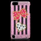 Bowknot Love Heart Pattern Protective Imitation Diamonds Plastic Back Case for iPod Touch 5 - Pink