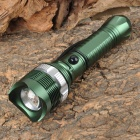 YP-9111 Cree XP-E Q5 100~250lm 3-Mode White Zooming Flashlight - Dark Green + Silver (1 x 18650)