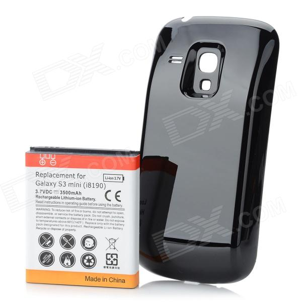 Replacement 3.7V 3500mAh Battery Pack + Back Case for Samsung i8190 Galaxy S3 Mini - Black + White 3 6v 2400mah rechargeable battery pack for psp 3000 2000