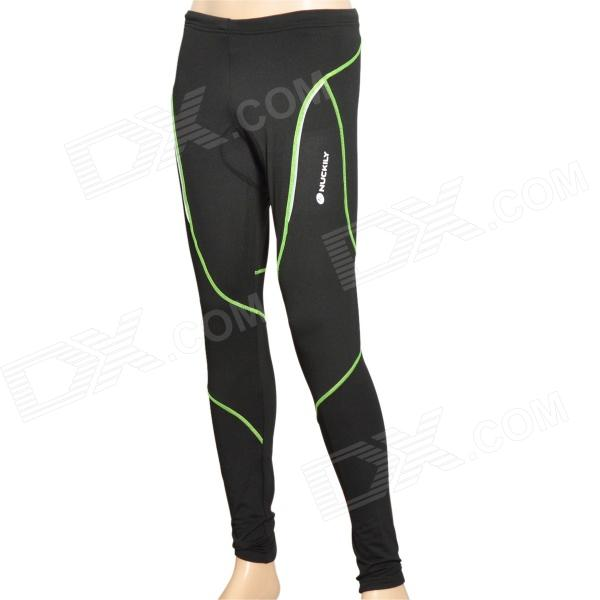NS903-W Bike Bicycle Cycling Riding Pants - Black + Green (Size XL)