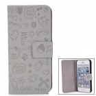 Cute Faerie Pattern Protective PU Leather Cover PC Back Case Stand for Iphone 5 - Grey