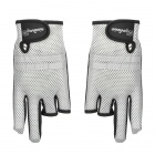Fishing Three Half-Finger + Two Full-Finger Anti-Slip Gloves - Black + Grey (Pair)