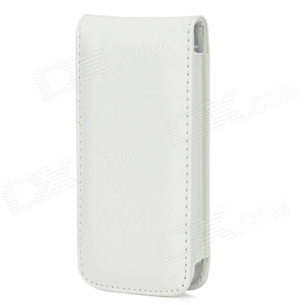 Protective PU Leather Top Flip Open Case for Iphone 5 - White omo protective pu leather flip open case for iphone 4 4s white