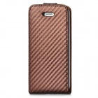 Protective Oblique Grain Flip-Open PU Leather Case for iPhone 5 - Brown