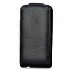 Lychee Pattern Protective PU Leather Flip-open Case for Iphone 5 - Black