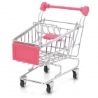 Creative Mini Steel Supermarket Shopping Trolley Toy - Pink + Silver