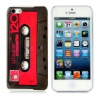 Cassette Pattern Protective ABS Back Case for iPhone 5 - Black + Red + White