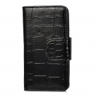 Crocodile Grain Pattern Protective PU Leather Flip-Open Case for Iphone 5 - Black