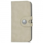 Protective Cloth Grain PU Leather Flip Open Case w/ Card Slot for Iphone 5 - Light Grey