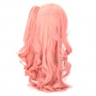 Cosplay Fashion Lady's Diagonal Bangs Long Curly Hair Wigs Set - Pink