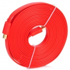 1080p 3D HDMI V1.4 Male to Male Flat Connection Cable - Red (500cm)