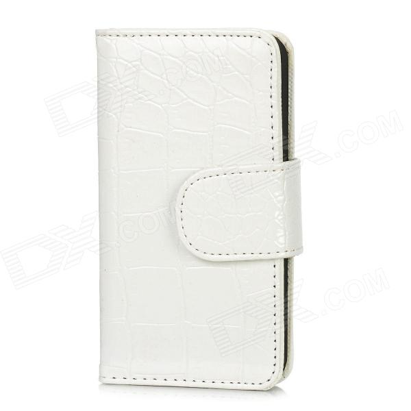 Crocodile Grain Pattern Protective PU Leather Flip-Open Case for Iphone 5 - White