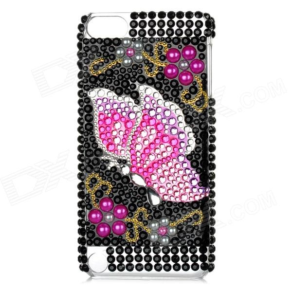 Butterfly w/ Acrylic Diamond Pattern Protective Plastic Back Case for Ipod Touch 5 - Black + Pink