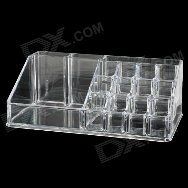 16-Compartment Crystal Cosmetic Makeup Lipstick / Eyebrow Pen Storage Case - Translucent White