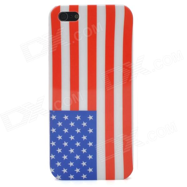 US National Flag Pattern Protective ABS Back Case for Iphone 5 - Red + White + Blue cartoon pattern matte protective abs back case for iphone 4 4s deep pink