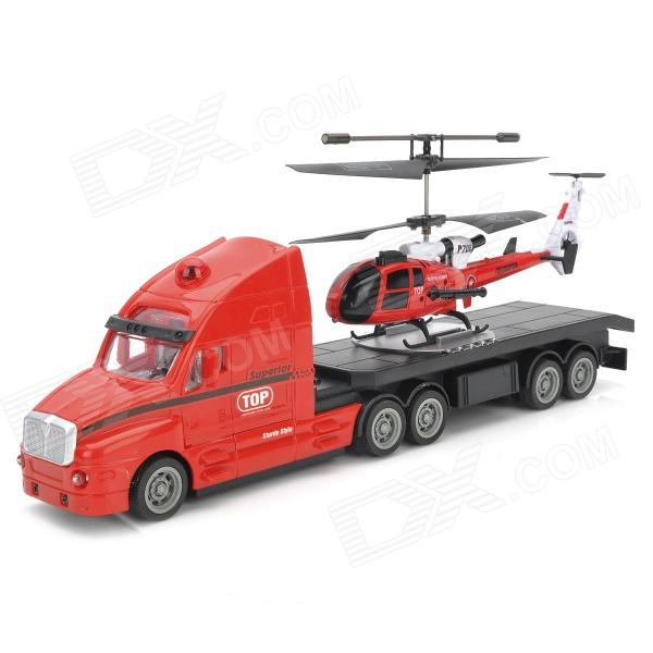 WJ-112601 2-in-1 Rechargeable 3.5-CH R/C i-Helicopter w/ 4-CH i-Truck Set - Red rechargeable 4 ch r c helicopter w gyroscope yellow black ir remote 6 x aa