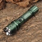 Cree XR-E Q5 200lm 3-Mode White Zooming Flashlight - Dark Green + Silver (1 x 18650 / 3 x AAA)