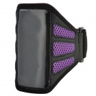 Trendy Sports Mesh Style Armband Bag for iPhone 5 - Black + Purple