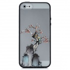 Colorfilm Plum Blossom Painting Emboss Protective Plastic Back Case for Iphone 5 - Black + Grey
