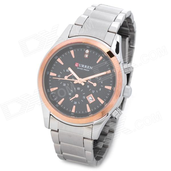 CURRENT 8085 Fashion Man's Stainless Steel Quartz Analog Waterproof Wrist Watch - Silver + Golden fashion stainless steel quartz analog wrist watch for women silver blue 1 x lr626