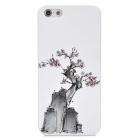 Colorfilm Plum Blossom Painting Emboss Protective Plastic Back Case for Iphone 5 - White + Grey