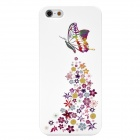 Colorfilm Butterflies over Flowers Protective Plastic Back Case for Iphone 5 - Multicolor