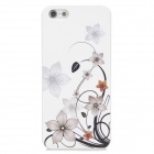 Colorfilm Flowers Painting Emboss Pattern Protective Plastic Back Cover Case for Iphone 5 - White