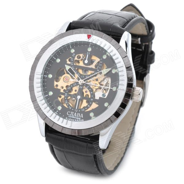 CJIABA GK8003-B Fashion PU Band Mechanical Analog Wrist Watch for Men - Black