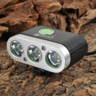UltraFire D88 2000lm 5-Mode White Bicycle Lamp w/ 3 x Cree XM-L T6 - Black + Silver (4 x 18650)