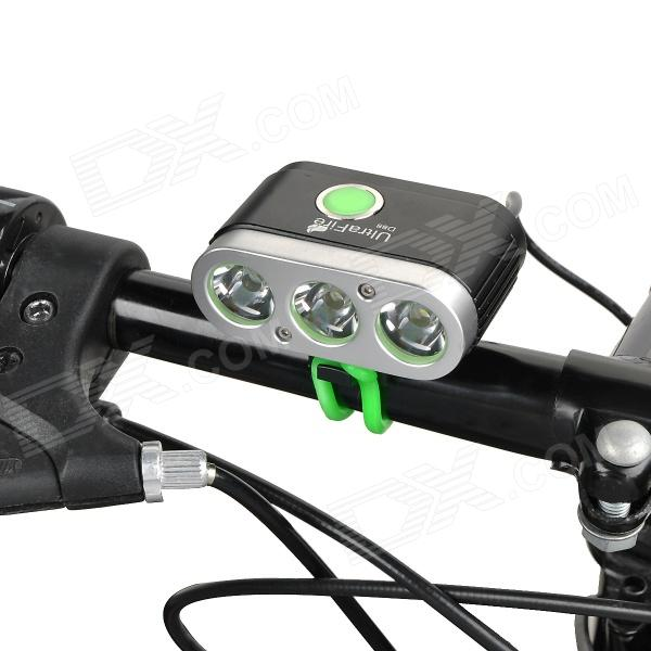 UltraFire D88 3 x Cree XM-L T6 2000lm 5-Mode White Light Bicycle Lamp - Black + Silver (4 x 18650)