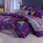 Classic Feather Pattern 4-in-1 Pure Cotton Bedding Sheet - Purple