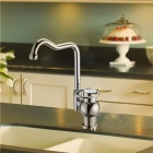 8129 Antique Design Nickel + Chrome Plated Copper Single Handle Kitchen Faucet - Silver