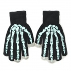 Skeleton Finger Pattern Capacitive Screen Touching Hand Warmer Gloves - Black + Light Blue (Pair)