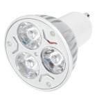 GU10 6W 300lm 6500K 3-LED White Light Lamp Bulb - Silver (85~265W)