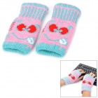 Smiling Face Style Warm Fingerless Computer Typing Woolen Gloves for Women - Pink (Pair / Free-Size)