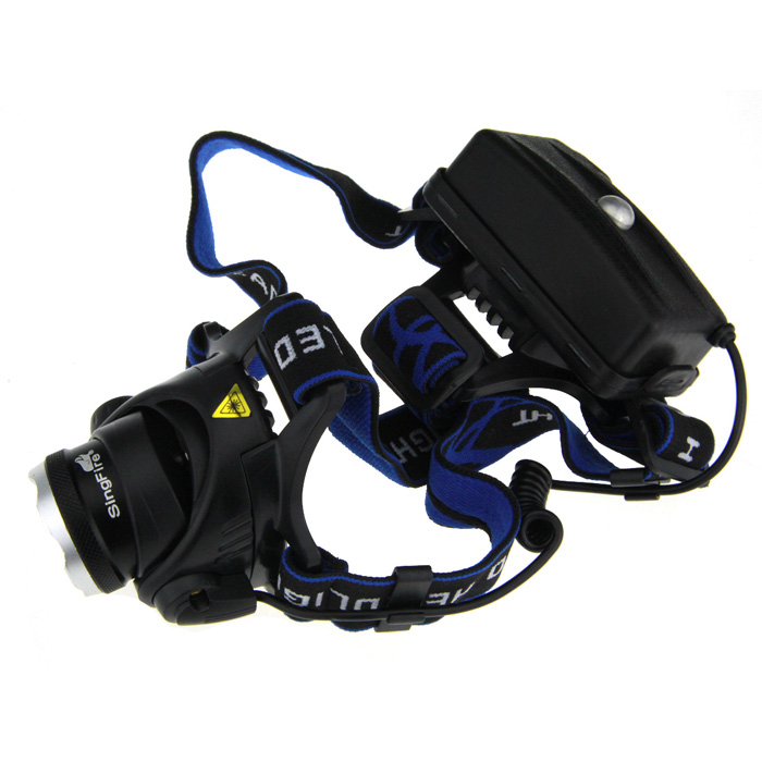 SingFire SF-536 500lm 3-Mode White Zooming Headlamp w/ Cree XM-L T6 - Black + Silver (2 x 18650)