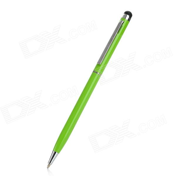 2-in-1 Capacitive Screen Stylus + Ballpoint Pen for Iphone 5 - Green