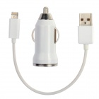 Car Charging Adapter Charger + 8-Pin Lightning USB Cable for iPhone 5 / iPad Mini - White