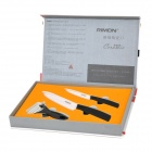 "RIMON T6140 Zirconia Ceramic 4"" & 6"" Chef's Slicing Fruit Knives + Peeler Set - Black + White"
