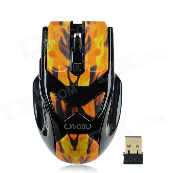 LingDu L-535 2.4GHz Wireless 1000 / 1600dpi USB Optical Mouse - Yellow + Orange + Black (2 x AAA) lingdu d9200 cool 2 4ghz wireless keyboard with mouse set black 1 x aa