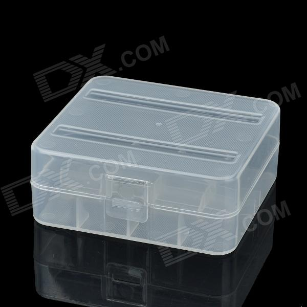 2-Compartment Plastic Storage Box for 26650 Batteries - White magnet 2 compartment pp storage box