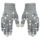 HQS-G3719 Small Skull Pattern 3-Finger Capacitive Screen Touching Hand Warmer Gloves - Grey