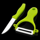 HCGS-218 Chic Chefs Horizontal Ceramic Knife + Peeler Set - Green + White (7.2cm-Blade)